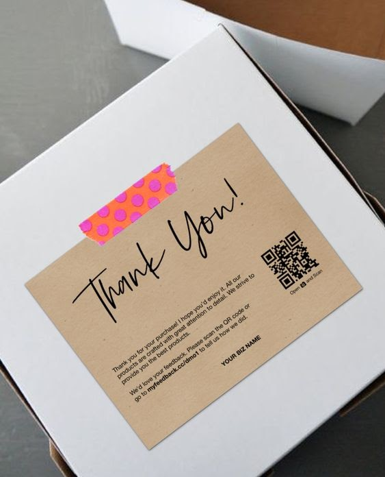 QR-code thank you note on packaging