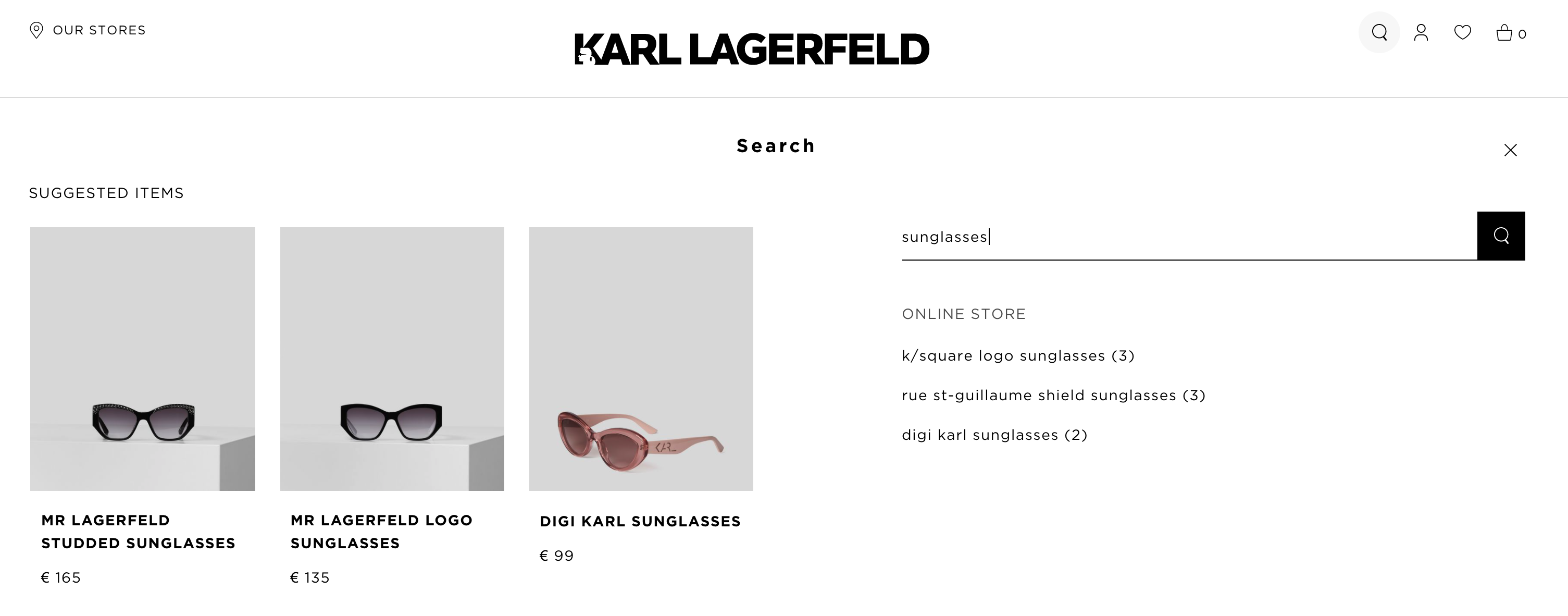 faceted onsite search karl lagerfeld